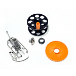 Spearfishing Speargun Reel Pelengas  Stanless Steel -Plastik with Side Exit Line (Black-Orange)